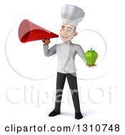 Clipart Of A 3d Young White Male Chef Holding A Green Bell Pepper And Announcing With A Megaphone Royalty Free Illustration