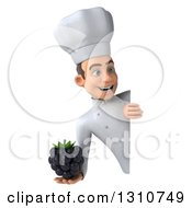 Clipart Of A 3d Young White Male Chef Holding A Blackberry Around A Sign 3 Royalty Free Illustration