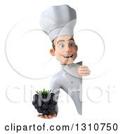 Clipart Of A 3d Young White Male Chef Holding A Blackberry Around A Sign 2 Royalty Free Illustration