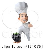 Clipart Of A 3d Young White Male Chef Holding A Blackberry Around A Sign Royalty Free Illustration