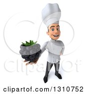 Clipart Of A 3d Young White Male Chef Holding Up A Blackberry Royalty Free Illustration