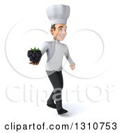 Clipart Of A 3d Young White Male Chef Walking To The Right And Holding A Blackberry Royalty Free Illustration