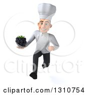 Clipart Of A 3d Young White Male Chef Sprinting And Holding A Blackberry Royalty Free Illustration