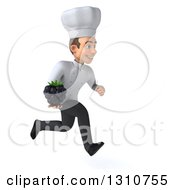 Clipart Of A 3d Young White Male Chef Sprinting To The Right And Holding A Blackberry Royalty Free Illustration