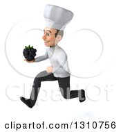 Clipart Of A 3d Young White Male Chef Sprinting To The Left And Holding A Blackberry Royalty Free Illustration