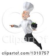 Clipart Of A 3d Young White Male Chef Flying Pointing And Holding A Blackberry Royalty Free Illustration