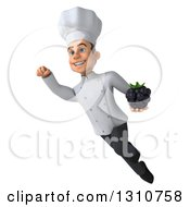 Clipart Of A 3d Young White Male Chef Flying And Holding A Blackberry 2 Royalty Free Illustration