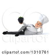Clipart Of A 3d Young White Male Chef Resting On His Side And Holding A Blackberry 2 Royalty Free Illustration
