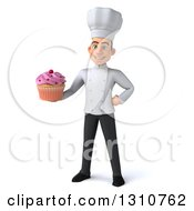 Clipart Of A 3d Young White Male Chef Holding A Pink Frosted Cupcake Royalty Free Illustration