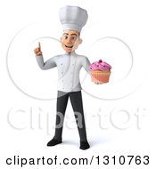 Clipart Of A 3d Young White Male Chef Holding Up A Finger And A Pink Frosted Cupcake Royalty Free Illustration