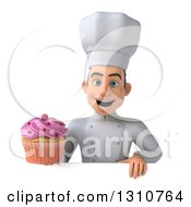 Clipart Of A 3d Young White Male Chef Holding A Pink Frosted Cupcake Over A Sign Royalty Free Illustration