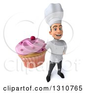 Clipart Of A 3d Young White Male Chef Holding Up A Pink Frosted Cupcake Royalty Free Illustration