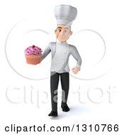 Clipart Of A 3d Young White Male Chef Walking And Holding A Pink Frosted Cupcake Royalty Free Illustration