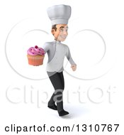 Clipart Of A 3d Young White Male Chef Walking To The Right And Holding A Pink Frosted Cupcake Royalty Free Illustration