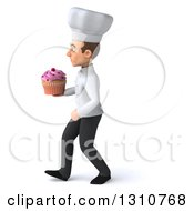 Clipart Of A 3d Young White Male Chef Walking To The Left And Holding A Pink Frosted Cupcake Royalty Free Illustration