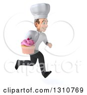 Clipart Of A 3d Young White Male Chef Sprinting To The Right And Holding A Pink Frosted Cupcake Royalty Free Illustration