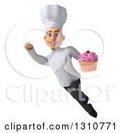Clipart Of A 3d Young White Male Chef Flying And Holding A Pink Frosted Cupcake 2 Royalty Free Illustration