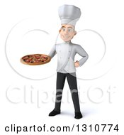 Clipart Of A 3d Young White Male Chef Holding A Pizza Royalty Free Illustration