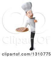 Clipart Of A 3d Full Length Young White Male Chef Holding A Pizza Around A Sign Royalty Free Illustration