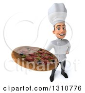 Clipart Of A 3d Young White Male Chef Holding Up A Pizza Royalty Free Illustration