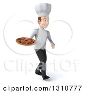 Clipart Of A 3d Young White Male Chef Walking To The Right And Holding A Pizza Royalty Free Illustration