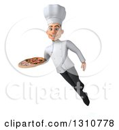 Clipart Of A 3d Young White Male Chef Flying And Holding A Pizza 2 Royalty Free Illustration