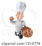Clipart Of A 3d Young White Male Chef Flying And Holding A Pizza Royalty Free Illustration