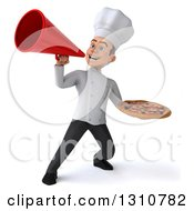 Clipart Of A 3d Young White Male Chef Holding A Pizza And Announcing With A Megaphone 2 Royalty Free Illustration