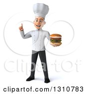 Clipart Of A 3d Young White Male Chef Holding Up A Finger And A Double Cheeseburger Royalty Free Illustration