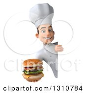 Clipart Of A 3d Young White Male Chef Holding A Double Cheeseburger Around A Blank Sign Royalty Free Illustration