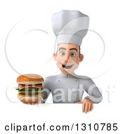Clipart Of A 3d Young White Male Chef Holding A Double Cheeseburger Over A Blank Sign Royalty Free Illustration