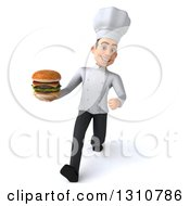 Clipart Of A 3d Young White Male Chef Walking And Holding A Double Cheeseburger Royalty Free Illustration