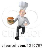 Clipart Of A 3d Young White Male Chef Sprinting And Holding A Double Cheeseburger Royalty Free Illustration