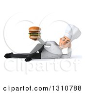 Clipart Of A 3d Young White Male Chef Resting On His Side And Holding A Double Cheeseburger Royalty Free Illustration