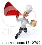 Clipart Of A 3d Young White Male Chef Holding A Double Cheeseburger And Announcing Upwards With A Megaphone Royalty Free Illustration
