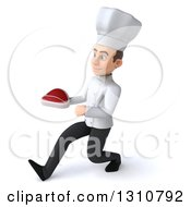 Clipart Of A 3d Young White Male Chef Walking To The Left And Holding A Beef Steak Royalty Free Illustration