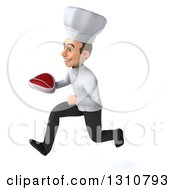 Clipart Of A 3d Young White Male Chef Sprinting To The Left And Holding A Beef Steak Royalty Free Illustration