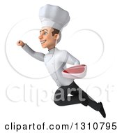 Clipart Of A 3d Young White Male Chef Flying To The Left And Holding A Beef Steak Royalty Free Illustration