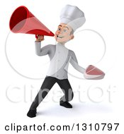 Clipart Of A 3d Young White Male Chef Holding A Beef Steak And Announcing With A Megaphone 2 Royalty Free Illustration