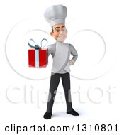 Clipart Of A 3d Young White Male Chef Holding A Red Gift Royalty Free Illustration
