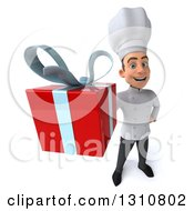 Clipart Of A 3d Young White Male Chef Holding Up A Gift Royalty Free Illustration