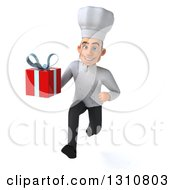 Clipart Of A 3d Young White Male Chef Sprinting And Holding A Gift Royalty Free Illustration