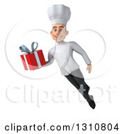 Clipart Of A 3d Young White Male Chef Flying And Holding A Gift 2 Royalty Free Illustration