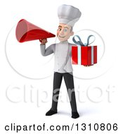 Clipart Of A 3d Young White Male Chef Holding A Gift And Announcing With A Megaphone Royalty Free Illustration