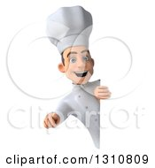 Clipart Of A 3d Young White Male Chef Pointing Outwards Around A Sign Royalty Free Illustration