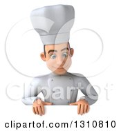 Clipart Of A 3d Young White Male Chef Looking Down Over A Sign Royalty Free Illustration