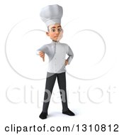 Clipart Of A 3d Young White Male Chef Giving A Thumb Down Royalty Free Illustration