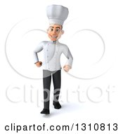 Clipart Of A 3d Young White Male Chef Walking Royalty Free Illustration