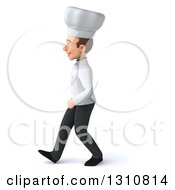 Clipart Of A 3d Young White Male Chef Walking To The Left Royalty Free Illustration