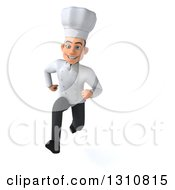 Clipart Of A 3d Young White Male Chef Sprinting Royalty Free Illustration